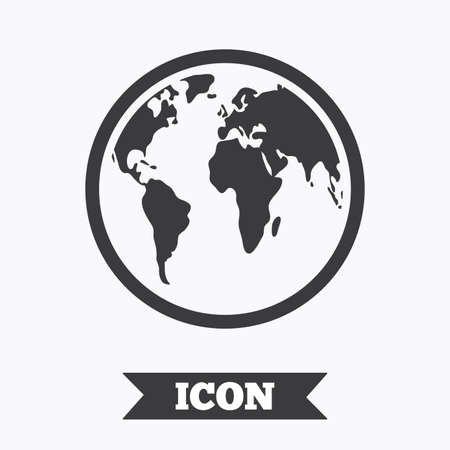 geography background: Globe sign icon. World map geography symbol. Graphic design element. Flat globe symbol on white background. Vector