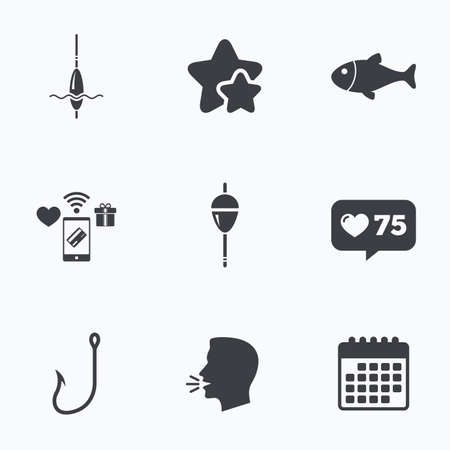 hook like: Fishing icons. Fish with fishermen hook sign. Float bobber symbol. Flat talking head, calendar icons. Stars, like counter icons. Vector