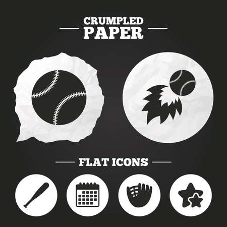crumpled paper ball: Crumpled paper speech bubble. Baseball sport icons. Ball with glove and bat signs. Fireball symbol. Paper button. Vector Illustration