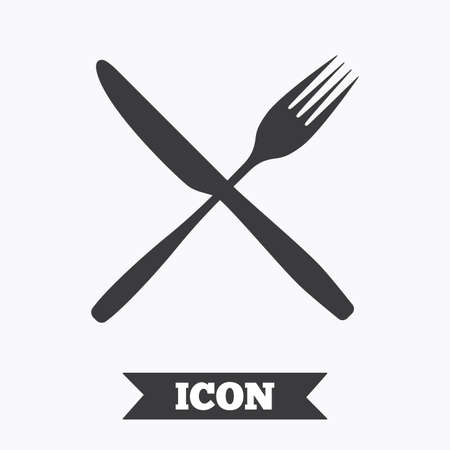 crosswise: Eat sign icon. Cutlery symbol. Fork and knife crosswise. Graphic design element. Flat fork symbol on white background. Vector