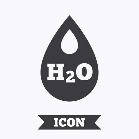h2o: H2O Water drop sign icon. Tear symbol. Graphic design element. Flat water symbol on white background. Vector Illustration