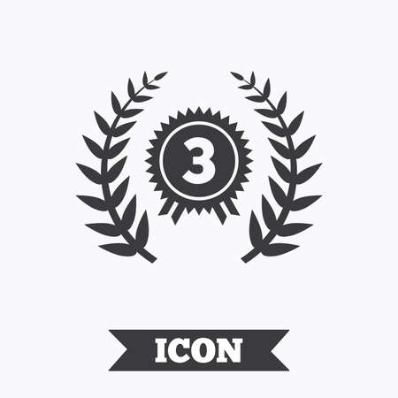 badge with ribbon: Third place award sign icon. Prize for winner symbol. Laurel Wreath. Graphic design element. Flat winner symbol on white background. Vector