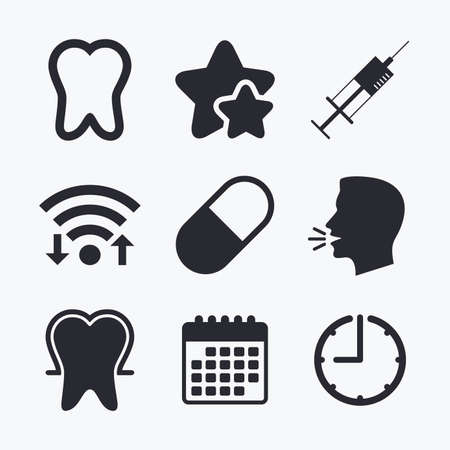 enamel: Tooth enamel protection icons. Medical syringe and pill signs. Medicine injection symbol. Wifi internet, favorite stars, calendar and clock. Talking head. Vector