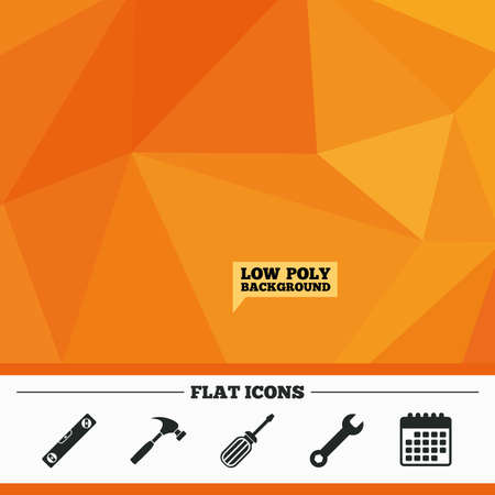in low spirits: Triangular low poly orange background. Screwdriver and wrench key tool icons. Bubble level and hammer sign symbols. Calendar flat icon. Vector