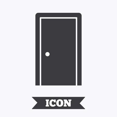 white door: Door sign icon. Enter or exit symbol. Internal door. Graphic design element. Flat door symbol on white background. Vector Illustration