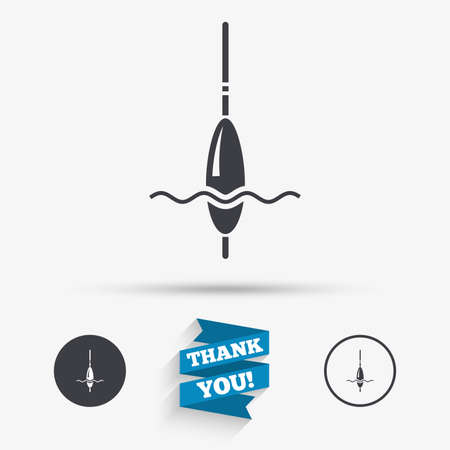 fishing bobber: Fishing sign icon. Float bobber symbol. Fishing tackle. Flat icons. Buttons with icons. Thank you ribbon. Vector