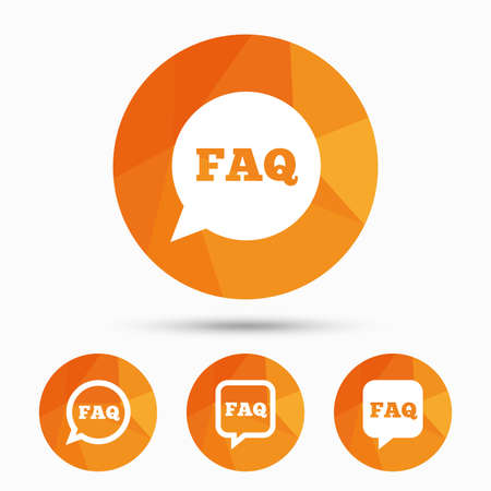qa: FAQ information icons. Help speech bubbles symbols. Circle and square talk signs. Triangular low poly buttons with shadow. Vector