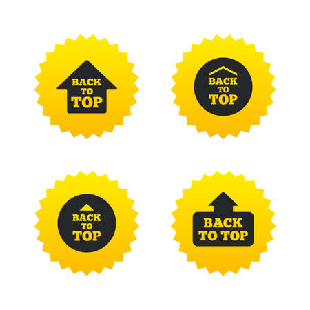 scroll up: Back to top icons. Scroll up with arrow sign symbols. Yellow stars labels with flat icons. Vector Illustration