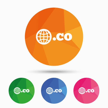 co: Domain CO sign icon. Top-level internet domain symbol with globe. Triangular low poly button with flat icon. Vector