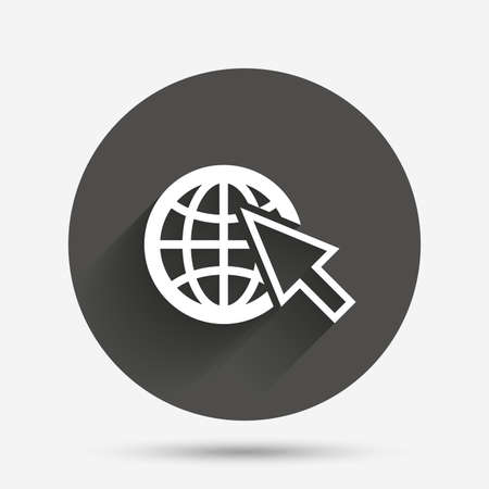 world wide web: Internet sign icon. World wide web symbol. Cursor pointer. Circle flat button with shadow. Vector