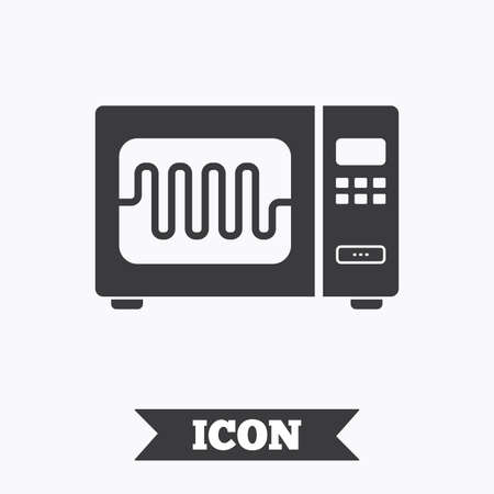 microwave stove: Microwave oven sign icon. Kitchen electric stove symbol. Graphic design element. Flat microwave symbol on white background. Vector Illustration