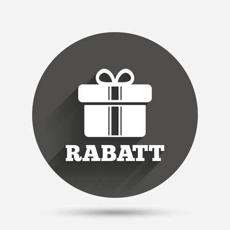 Rabatt - Rabatte in deutschen Zeichen Symbol. Geschenkbox mit Bändern Symbol. Kreis flache Taste mit Schatten. Vektor Standard-Bild - 60201208