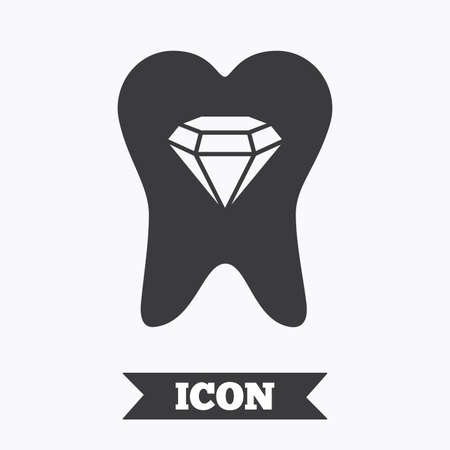prestige: Tooth crystal icon. Tooth jewellery sign. Dental prestige symbol. Graphic design element. Flat tooth symbol on white background. Vector