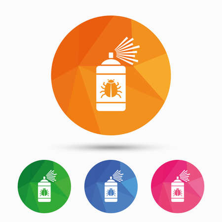 disinfection: Bug disinfection sign icon. Fumigation symbol. Bug sprayer. Triangular low poly button with flat icon. Vector
