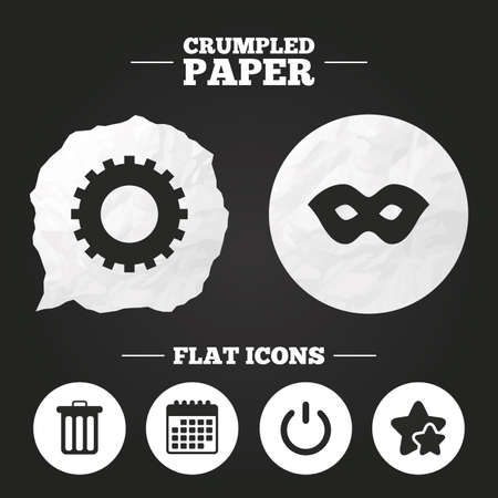anonymous: Crumpled paper speech bubble. Anonymous mask and cogwheel gear icons. Recycle bin delete and power sign symbols. Paper button. Vector