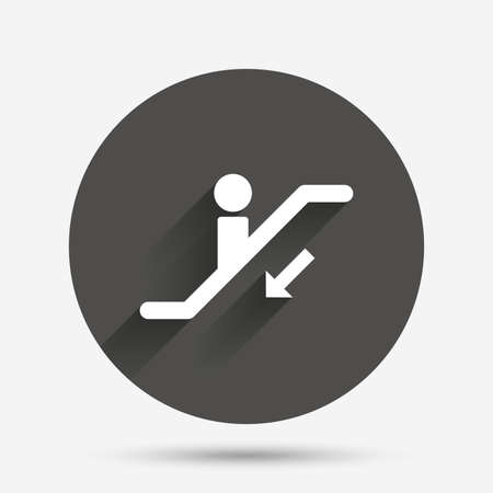moving down: Escalator staircase icon. Elevator moving stairs down symbol. Circle flat button with shadow. Vector