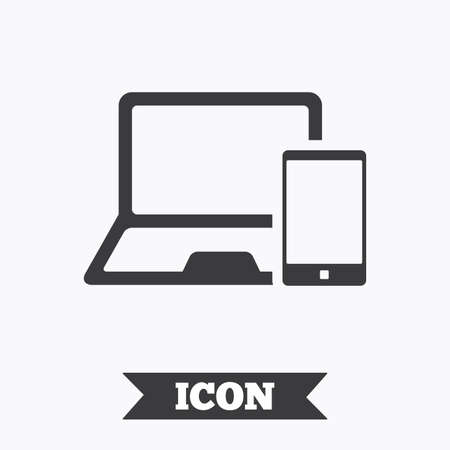 mobile devices: Mobile devices sign icon. Notebook with smartphone symbol. Graphic design element. Flat mobile devices symbol on white background. Vector
