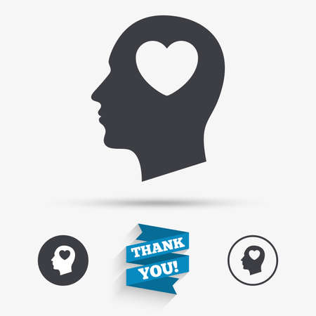 heart symbol: Head with heart sign icon. Male human head in love symbol. Flat icons. Buttons with icons. Thank you ribbon. Vector