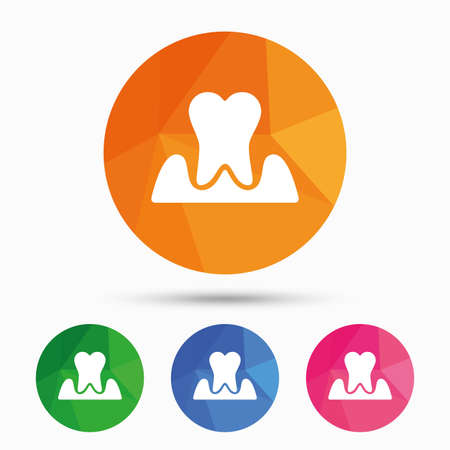 inflammation: Parodontosis tooth icon. Gingivitis sign. Inflammation of gums symbol. Triangular low poly button with flat icon. Vector