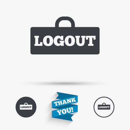 sign out: Logout sign icon. Sign out symbol. Lock icon. Flat icons. Buttons with icons. Thank you ribbon. Vector Illustration