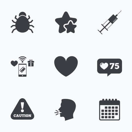 disinfection: Bug and vaccine syringe injection icons. Heart and caution with exclamation sign symbols. Flat talking head, calendar icons. Stars, like counter icons. Vector Illustration