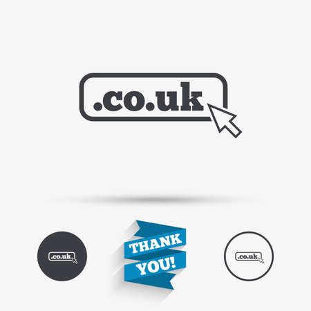 subdomain: Domain CO.UK sign icon. UK internet subdomain symbol with cursor pointer. Flat icons. Buttons with icons. Thank you ribbon. Vector