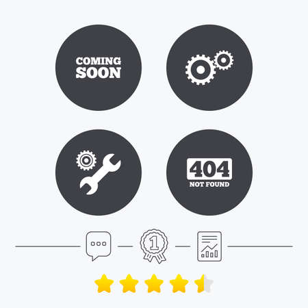 file not found: Coming soon icon. Repair service tool and gear symbols. Wrench sign. 404 Not found. Chat, award medal and report linear icons. Star vote ranking. Vector