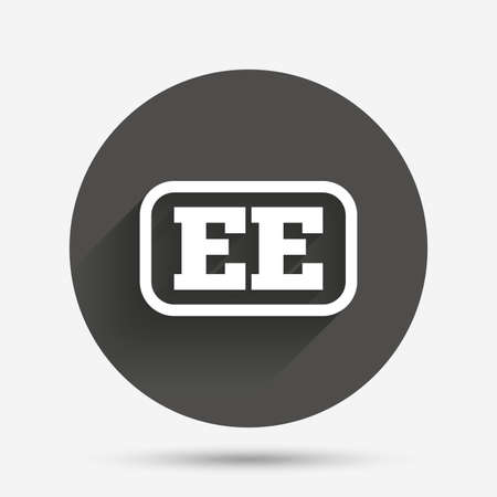 ee: Estonian language sign icon. EE translation symbol with frame. Circle flat button with shadow. Vector