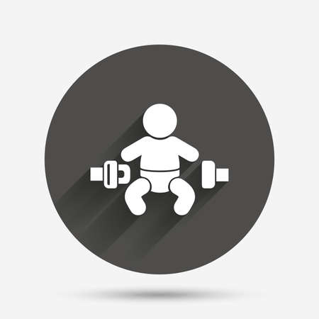 fasten: Fasten seat belt sign icon. Child safety in accident. Circle flat button with shadow. Vector Illustration