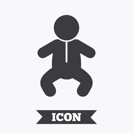 crawlers: Baby infant sign icon. Toddler boy in pajamas or crawlers body symbol. Child WC toilet. Graphic design element. Flat toddler boy symbol on white background. Vector Illustration