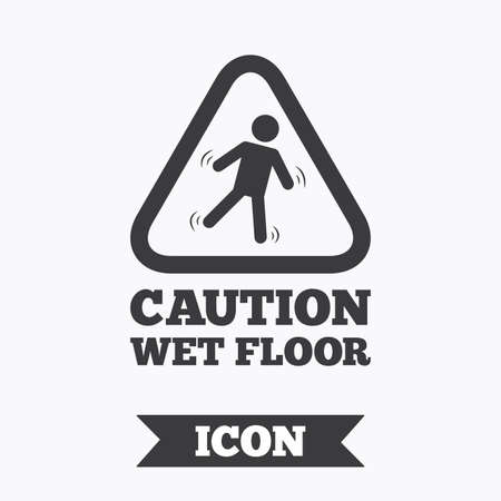 slippery floor: Caution wet floor sign icon. Human falling triangle symbol. Graphic design element. Flat slippery floor symbol on white background. Vector