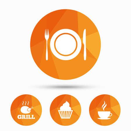 Alimentation et boisson icônes. Muffin symbole de petit gâteau. Antenne plaque avec une fourchette et un signe de couteau. tasse de café chaud. Triangulaire boutons de poly bas avec l'ombre. Vecteur Banque d'images - 60203527