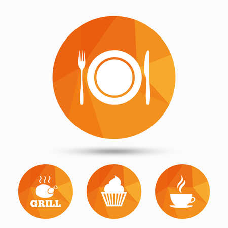 flatwares: Food and drink icons. Muffin cupcake symbol. Plate dish with fork and knife sign. Hot coffee cup. Triangular low poly buttons with shadow. Vector Illustration