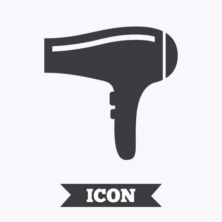 blow drying: Hairdryer sign icon. Hair drying symbol. Graphic design element. Flat hairdryer symbol on white background. Vector Illustration