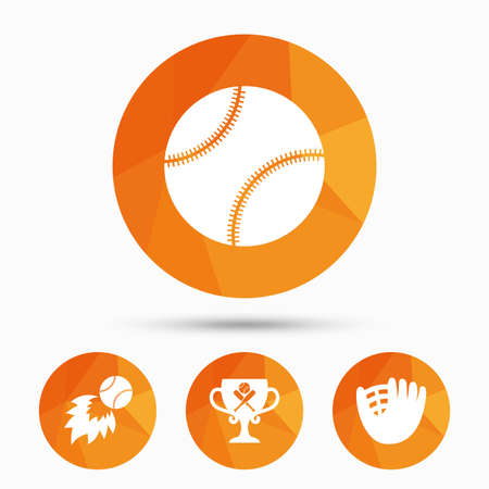 Baseball sport icons. Ball with glove and two crosswise bats signs. Fireball with award cup symbol. Triangular low poly buttons with shadow. Vector Illustration