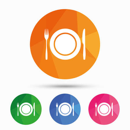 etiquette: Plate dish with fork and knife. Eat sign icon. Cutlery etiquette rules symbol. Triangular low poly button with flat icon. Vector Illustration