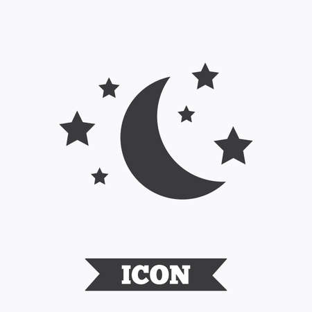 Moon and stars icon. Sleep dreams symbol. Night or bed time sign. Graphic design element. Flat sleep symbol on white background. Vector