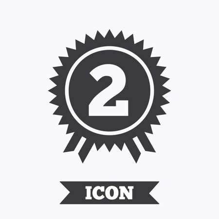 second prize: Second place award sign icon. Prize for winner symbol. Graphic design element. Flat winner symbol on white background. Vector Illustration