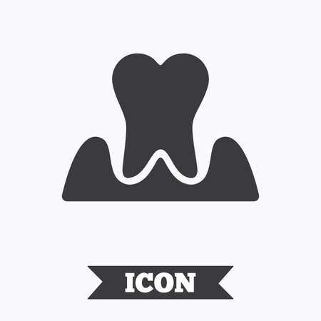 gingivitis: Parodontosis tooth icon. Gingivitis sign. Inflammation of gums symbol. Graphic design element. Flat parodontosist symbol on white background. Vector