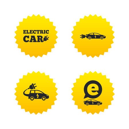 hatchback: Electric car icons. Sedan and Hatchback transport symbols. Eco fuel vehicles signs. Yellow stars labels with flat icons. Vector