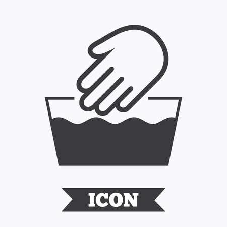 Hand wash sign icon. Not machine washable symbol. Graphic design element. Flat hand wash symbol on white background. Vector Ilustração