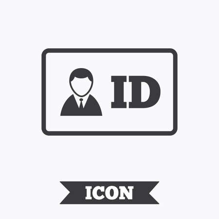 nametag: ID card sign icon. Identity card badge symbol. Graphic design element. Flat iD card symbol on white background. Vector Illustration