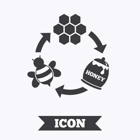 beeswax: Producing honey and beeswax sign icon. Honeycomb cells symbol. Honey in pot. Sweet natural food cycle in nature. Graphic design element. Flat honey symbol on white background. Vector