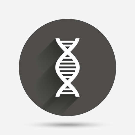 deoxyribonucleic acid: DNA sign icon. Deoxyribonucleic acid symbol. Circle flat button with shadow. Vector
