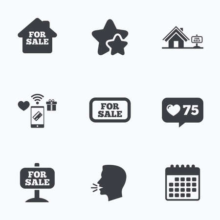house for sale: For sale icons. Real estate selling signs. Home house symbol. Flat talking head, calendar icons. Stars, like counter icons. Vector Illustration