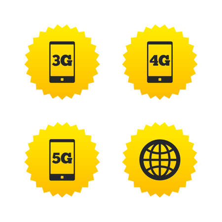 3g: Mobile telecommunications icons. 3G, 4G and 5G technology symbols. World globe sign. Yellow stars labels with flat icons. Vector