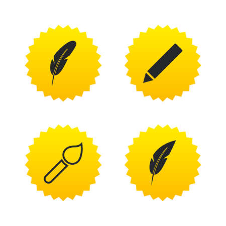 Feather retro pen icons. Paint brush and pencil symbols. Artist tools signs. Yellow stars labels with flat icons. Vector