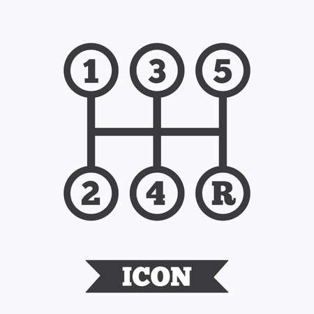 shifter: Manual transmission sign icon. Automobile mechanic control symbol. Graphic design element. Flat transmission symbol on white background. Vector Illustration