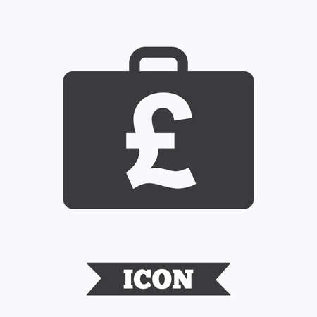 diplomat: Case with Pounds GBP sign icon. Briefcase button. Graphic design element. Flat diplomat symbol on white background. Vector Illustration