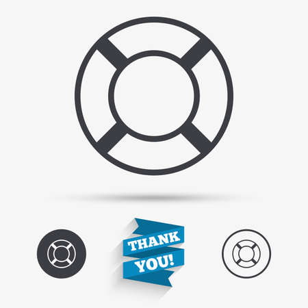 the salvation: Lifebuoy sign icon. Life salvation symbol. Flat icons. Buttons with icons. Thank you ribbon. Vector